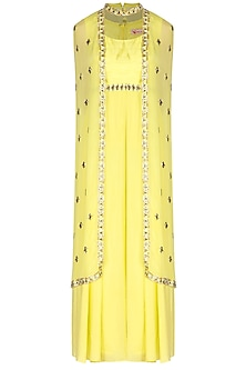Yellow Jumpsuit With Embroidered Cape by Nidhika Shekhar