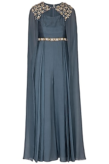 Cobalt Blue Embroidered Jumpsuit With Attached Cape by Nidhika Shekhar