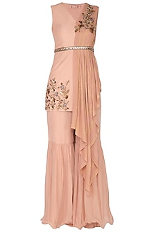 Blush Pink Embroidered Top With Pants by Nidhika Shekhar