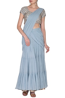 Sky Blue Embroidered Pre-Draped Saree Set by Nidhika Shekhar
