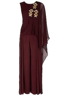 Maroon Embroidered Jumpsuit by Nidhika Shekhar