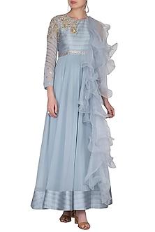 Sky Blue Embroidered Ruffled Gown by Nidhika Shekhar