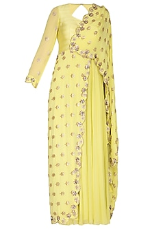 Yellow Embroidered Draped Saree Gown by Nidhika Shekhar