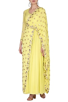 Yellow Embroidered Draped Saree Gown by Nidhika Shekhar
