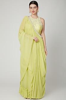 Yellow Pleated Saree Set by Nidhika Shekhar
