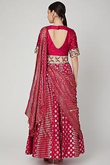 Fuchsia Embroidered Draped Lehenga set by Nidhika Shekhar
