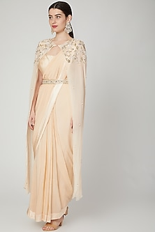 Beige Embroidered Draped Saree With Attached Cape by Nidhika Shekhar