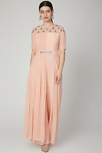 Peach Embroidered Jumpsuit With Attached Drape by Nidhika Shekhar
