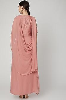 Blush Pink Embroidered Draped Dress by Nidhika Shekhar