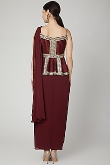 Maroon Embroidered Saree Gown by Nidhika Shekhar