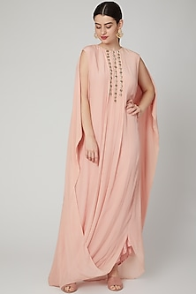 Blush Pink Embroidered Kaftan Dress by Nidhika Shekhar