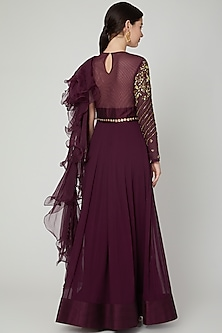 Wine Embroidered Anarkali Gown With Dupatta by Nidhika Shekhar