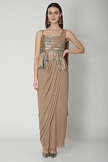 Nude Embroidered Saree Gown by Nidhika Shekhar