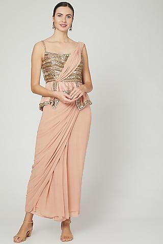 Salmon Pink Embellished Saree Gown by Nidhika Shekhar