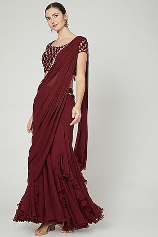 Maroon Ruffled & Draped Saree Set by Nidhika Shekhar