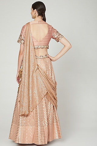 Salmon Pink Embroidered Draped Lehenga Set by Nidhika Shekhar