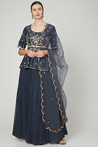 Grey Crinkled Georgette Lehenga Set by Nidhika Shekhar
