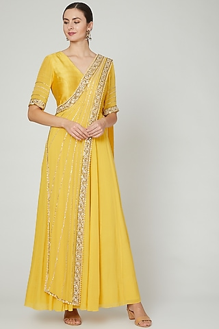 Yellow Embroidered Anarkali With Draped Dupatta by Nidhika Shekhar