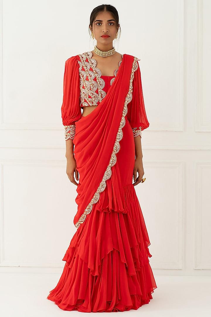 Carrot Pink Hand Embroidered Draped Saree by Nidhika Shekhar