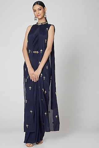 Navy Blue Pre-Stitched Draped Saree Set by Nidhika Shekhar