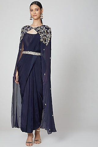 Navy Blue Cape Saree Gown With Belt by Nidhika Shekhar