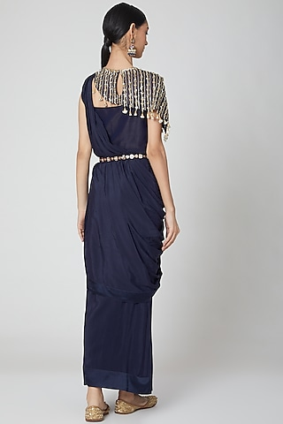 Navy Blue Pre-Stitched Draped Saree Gown Set by Nidhika Shekhar