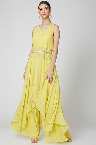 Yellow Embroidered Draped Kurta Set by Nidhika Shekhar