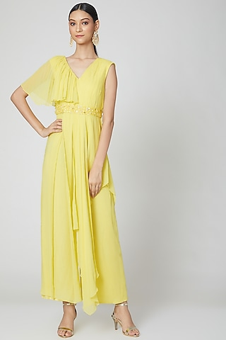 Neon Yellow Draped Jumpsuit With Embroidered Belt by Nidhika Shekhar
