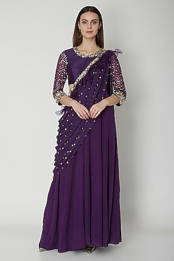 Purple Embroidered Saree Gown  by Nidhika Shekhar