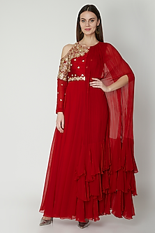 Red Embroidered Anarkali With Dupatta by Nidhika Shekhar