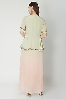 Mint Embroidered Jacket With Peach Skirt by Nidhika Shekhar
