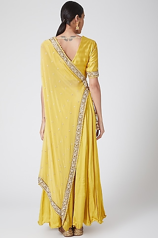 Yellow Embroidered Angrakha Kurta Set by Nidhika Shekhar