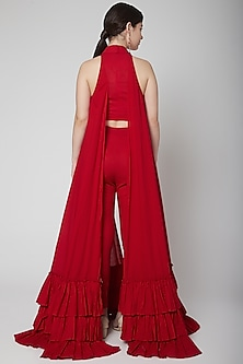 Red Frill Cape & Crop Top With Pants by Nidhika Shekhar
