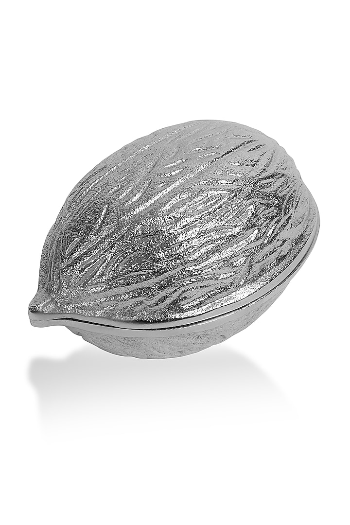 Silver Metal Walnut Bowl by HOUSE OF NEEBA