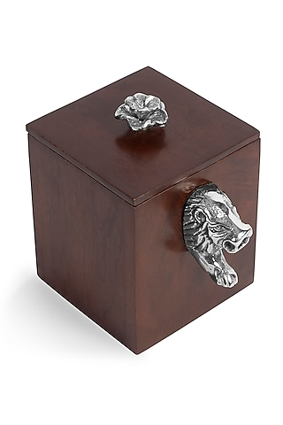 Brown Mango Wood & Metal Handcrafted Box by HOUSE OF NEEBA