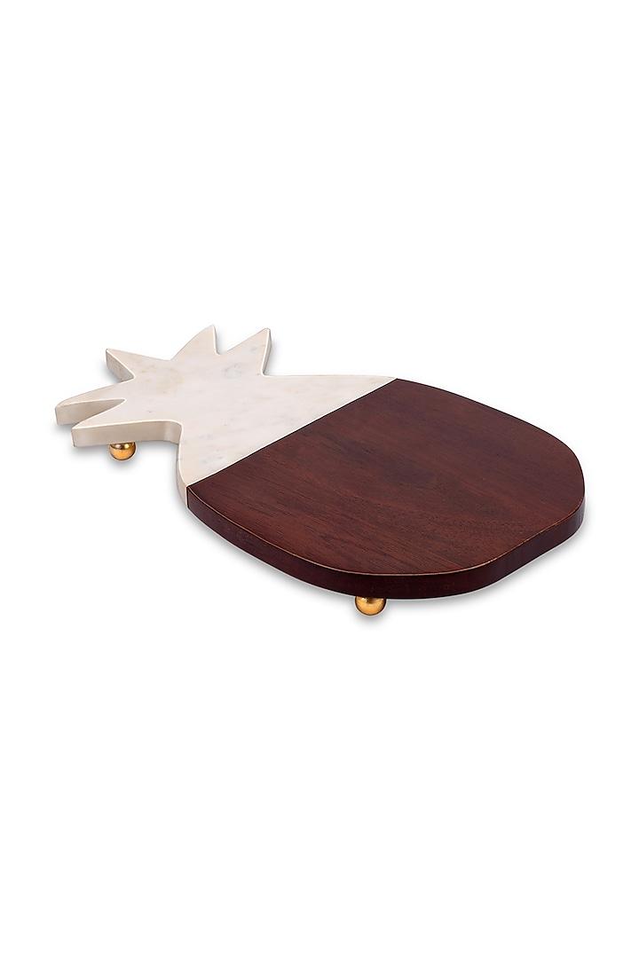 Brown Mango Wood & Marble Pineapple Platter by HOUSE OF NEEBA
