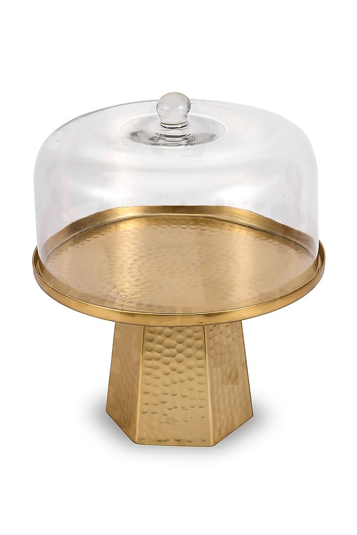 Gold Metal & Glass Cake Dome  by HOUSE OF NEEBA