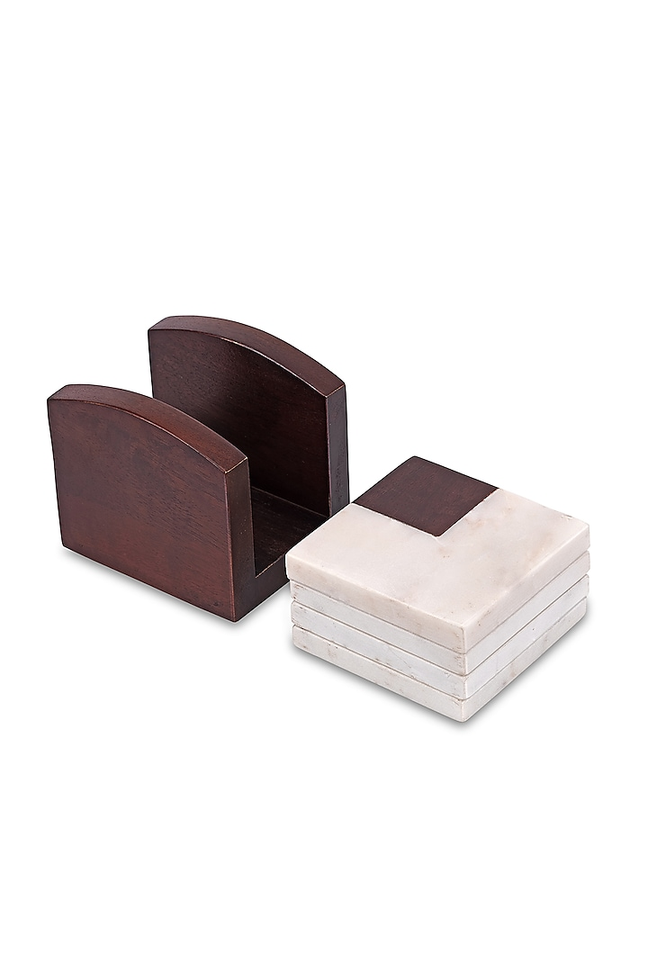 Brown Marble & Mango Wood Coasters With Coaster Stand (Set of 5) by HOUSE OF NEEBA