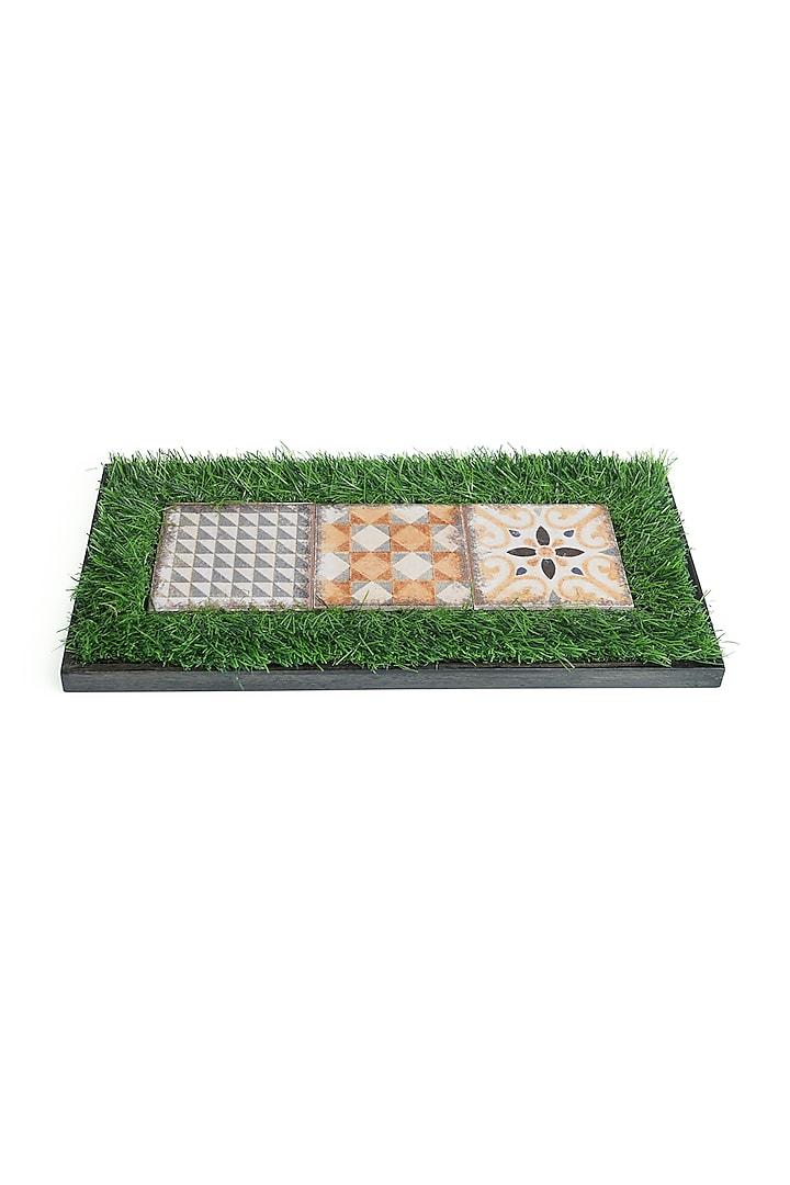Green & Brown Mango Wood Printed Platter by HOUSE OF NEEBA