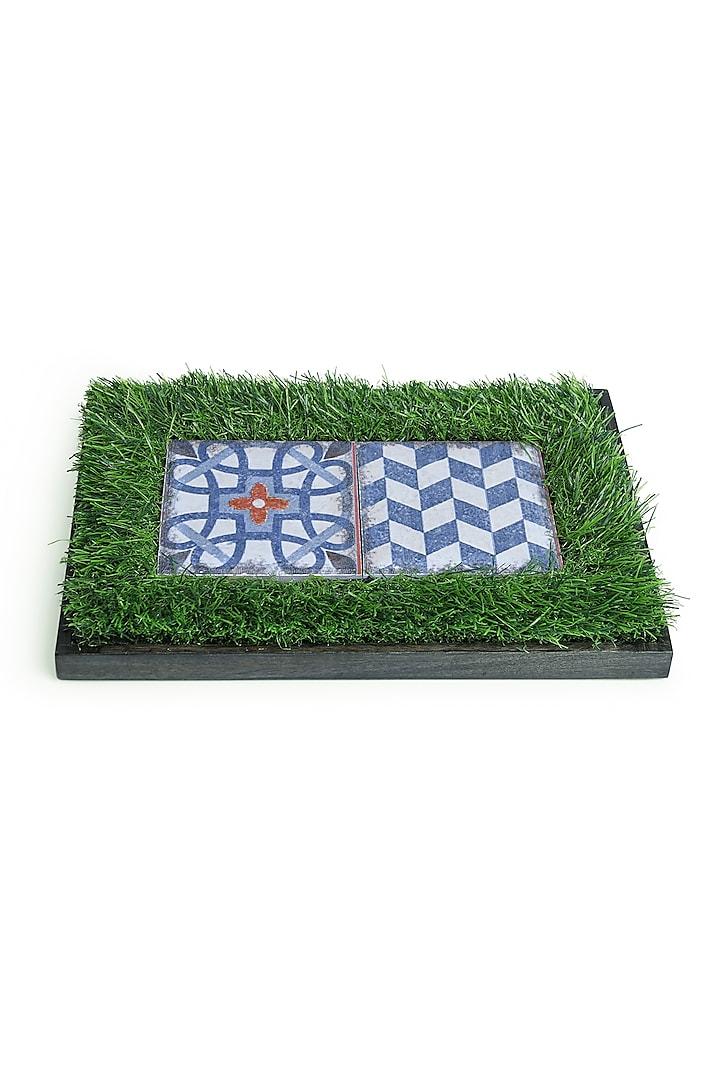 Green, Blue & White Mango Wood Printed Platter by HOUSE OF NEEBA
