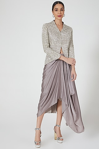 Grey Hand Embroidered Skirt Set by Niharika Kamani