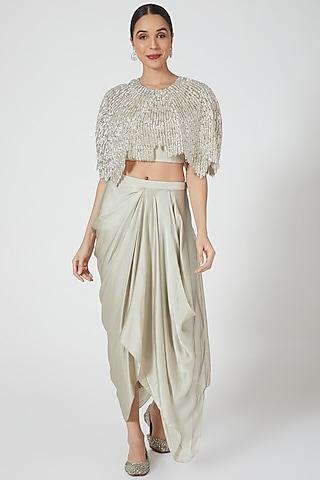 Mint Green Embroidered Skirt Set by Niharika Kamani