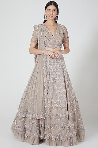 Grey Embroidered Scalloped Lehenga Set by Niharika Kamani