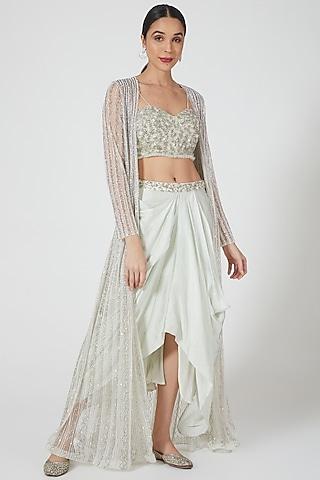 Mint Embroidered Draped Skirt Set by Niharika Kamani