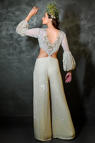 Off White Pant Set With Embroidery by Niharika Kamani