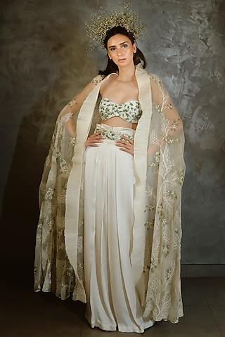 Off White Embroidered Pant Set by Niharika Kamani