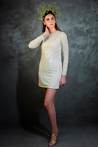Off White Embroidered Dress by Niharika Kamani
