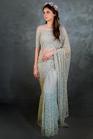 Green Embroidered Saree Set by Niharika Kamani