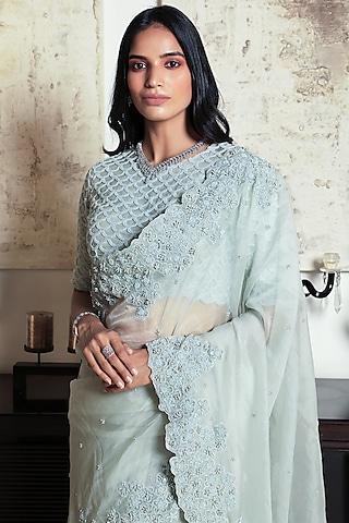 Green Embroidered Saree by Niharika Kamani