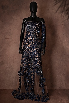 Blue Gown With Ribbon Work by Neeta Lulla